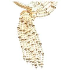 Oscar De La Renta Cascading Pearl and diamante necklace