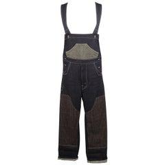Men's JUNYA WATANABE Size XS Indigo Contrast Stitch Denim Partchwork Overalls