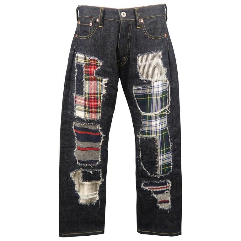 Men's JUNYA WATANABE Size S Indigo Distressed Patchwork Denim Jeans