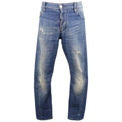 Men's DSQUARED2 Size 34 Medium Wash Distressed Denim Paint Splatter Jeans
