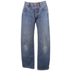 ETRO Size 34 Blue Stone Washed Denim Jeans