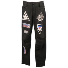 KTZ Size M Black Rubber Motocross Aplique Cotton Pants / Jeans
