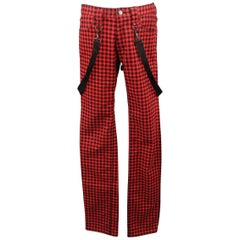 NUMBER (N)INE Size 30 Red & Black Gingham Bondage Strap Casual Pants