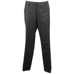 GUCCI Size 32 Black Gingham Plaid Textured Wool Dress Pants