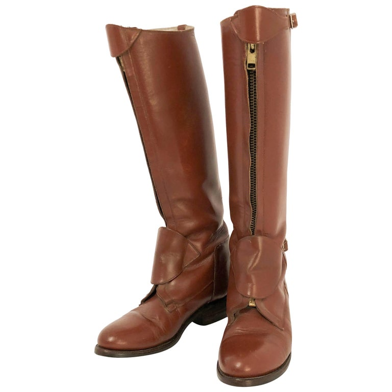 the sale of shoes classic fit save up to 80% 1940's Cordovan Colored Leather Riding Boots