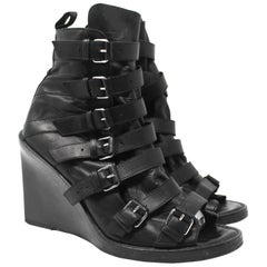 Anne Demeulemeester Black Leather Wedge Sandals, SS2010, Size 9 US / 39 EU