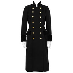 1980s Christian Dior Black Military Style Coat