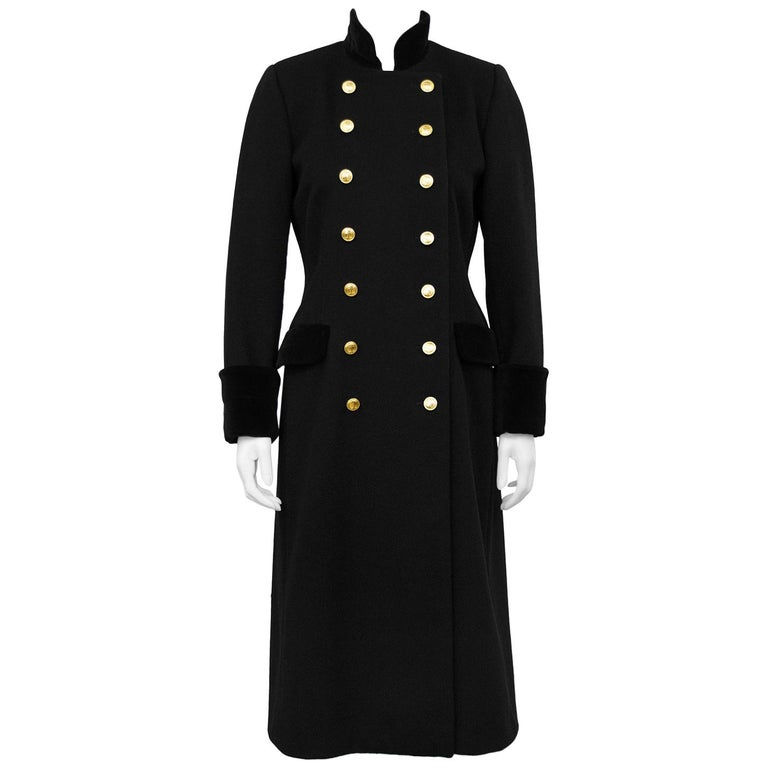1980s Christian Dior Black Military Style Coat For Sale