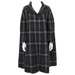 1950s Balmain Gray Plaid Swing Coat