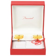 Baccarat Yellow Crystal 18K Gold Flower Clip On Earrings with Box