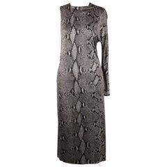 Gucci Python Print Asymmetric Dress Runway 2000 Tom Ford Era Size 42