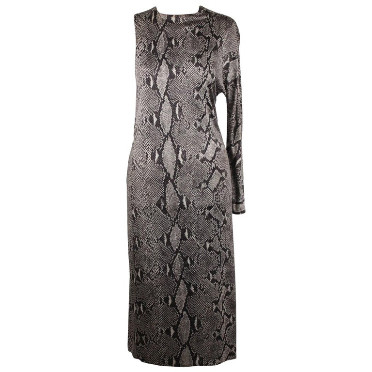 Gucci Python Print Asymmetric Dress Runway 2000 Tom Ford Era Size 42