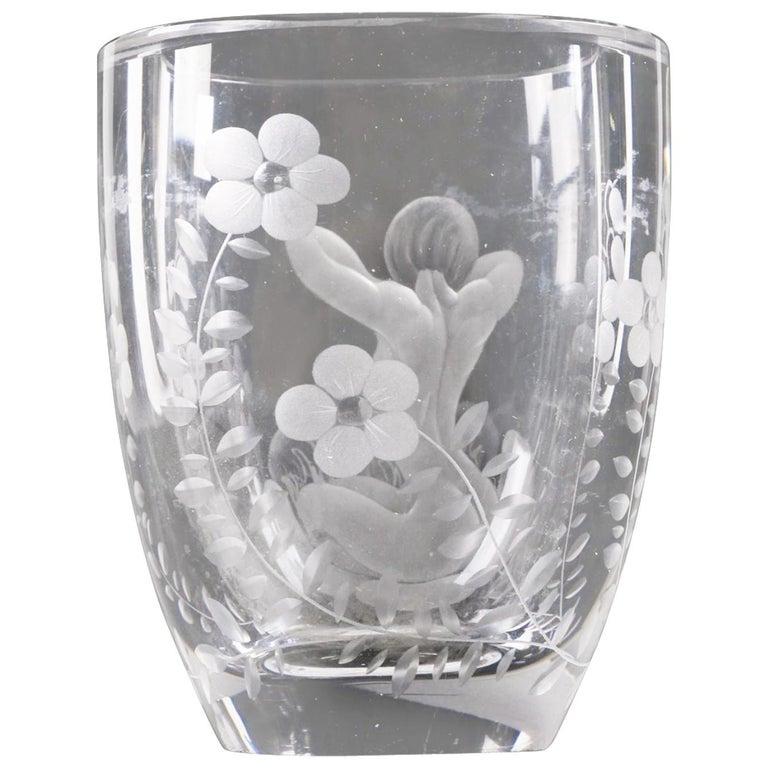 Lars Kjellander Swedish Engraved Glass Vase Circa 1920 Signed For