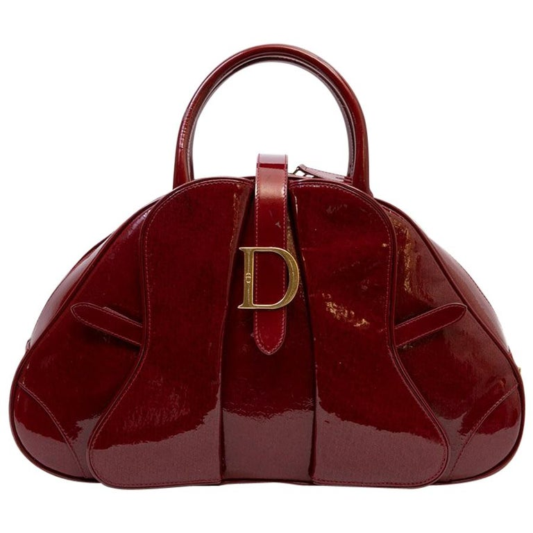 b4d2379d976f CHRISTIAN DIOR Saddle Bag in Red Patent Monogram Leather For Sale at ...