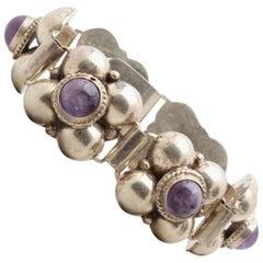 Mexico Sterling Silver Amethyst Cabochon Bracelet