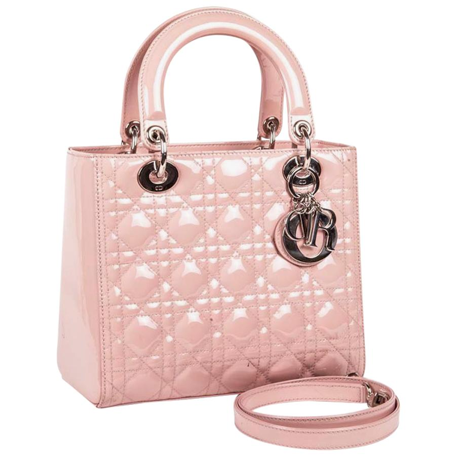 Dior Lady Bag In Pink Varnished Quilted Leather