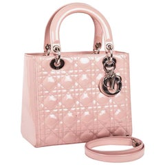 DIOR Lady Dior Bag in Pink Varnished Quilted Leather
