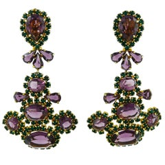 Christian Dior Vintage Massive Purple and Green Crystal Dangling Earrings