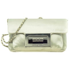 CHANEL Crossbody Bag in Pearly Gray Duchess Satin.