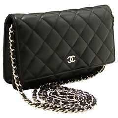 CHANEL Black WOC Wallet On Chain Shoulder Crossbody Bag Clutch