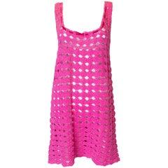 Vintage Pink Crochet Shift Dress