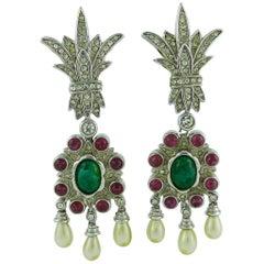 Christian Dior Vintage Mughal Inspired Dangling Earrings