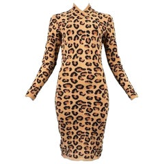 Alaia Vintage Leopard V Neck Dress with Band 1991 - Size S