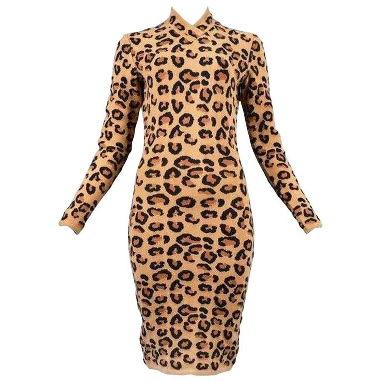 Alaia Vintage Leopard V Neck Dress with Band 1991 - Size S For Sale