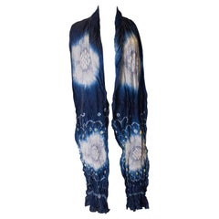Vintage Hand Tie Dyed Japanease Scarf with Shibori Detail