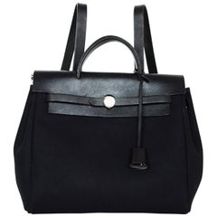 Hermes Black Canvas/Leather Toile Herbag Backpack w/ Insert