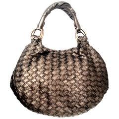 Miu Miu Bronze Metallic Woven Bag With Two Rolled Handles