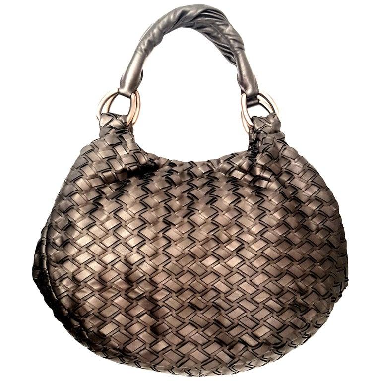 b454047b38 Miu Miu Bronze Metallic Woven Bag With Two Rolled Handles For Sale
