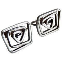 1950s Sterling Silver Earrings by Modernist Ed Levin