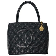 Chanel Caviar Leather Medallion with Gold Hardware in Black Shoulder Handbag