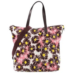 Prada Convertible Tote Printed Tessuto With Saffiano Large