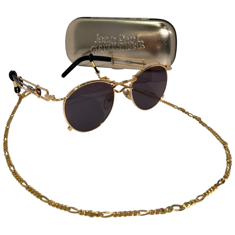 a5bc47ce8ad Jean Paul Gaultier Sunglasses Vintage 1990s 2-Tone Rare 56-0174 Original  Case For Sale at 1stdibs