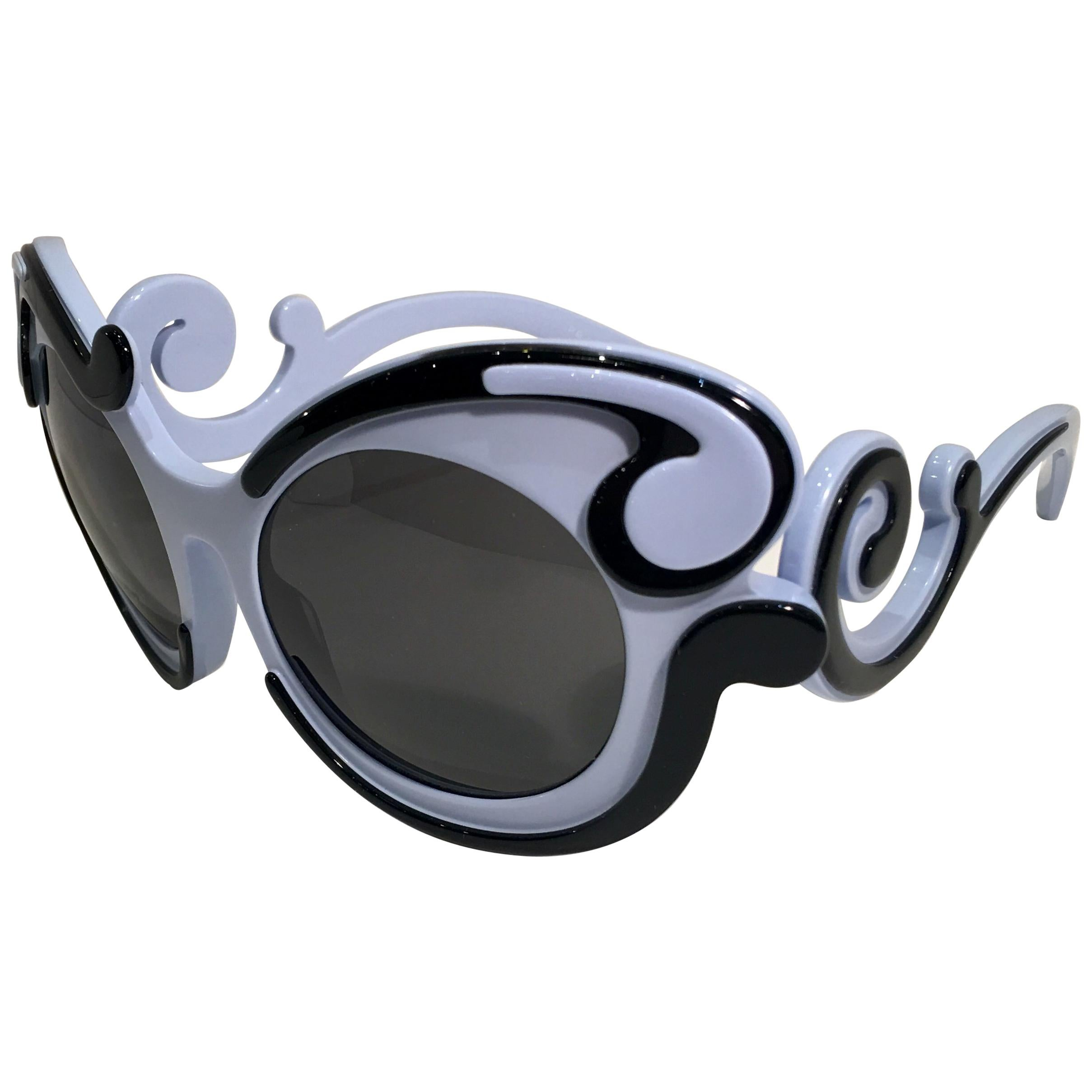 df631f412b2 Prada Minimal Baroque Swirl Sunglasses Italy Periwinkle Great for Easter  For Sale at 1stdibs