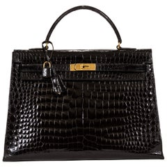 1960's Vintage Hermes Black Crocodile Kelly 35 Bag