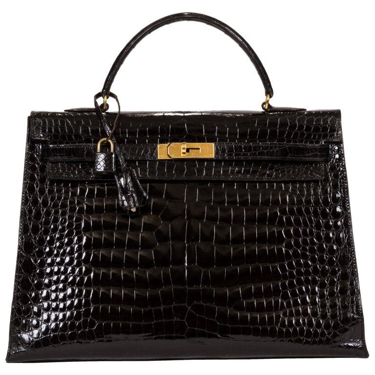 06592e2468 1960 s Vintage Hermes Black Crocodile Kelly 35 Bag For Sale at 1stdibs