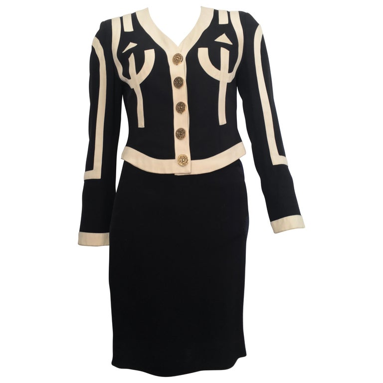Moschino 1990s Black & Cream Jacket & Skirt Suit Size 4. For Sale