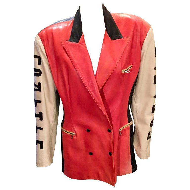 "Vintage Jean Paul Gaultier Leather Coat ""Russian Constructivist"" Collection 1986 For Sale"