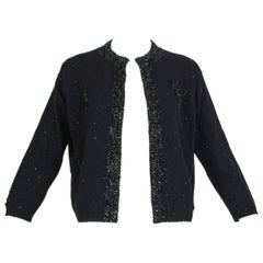 Black Bead and Sequin Sweater Girl Cardigan - Hong Kong, 1950s