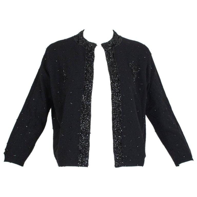 Black Bead and Sequin Sweater Girl Cardigan - Hong Kong, 1950s For Sale