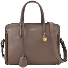 "ALEXANDER McQUEEN ""Padlock Zip-Around Tote"" Taupe Pebbled Leather Handbag Purse"