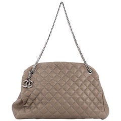 Chanel Just Mademoiselle Handbag Quilted Caviar Large