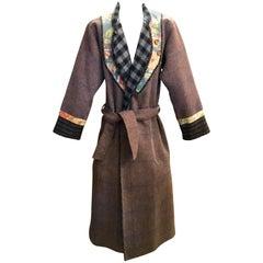 Kenzo JAP Women's Long Coat Plaid with Floral Details ans Stripes Vintage 1970s