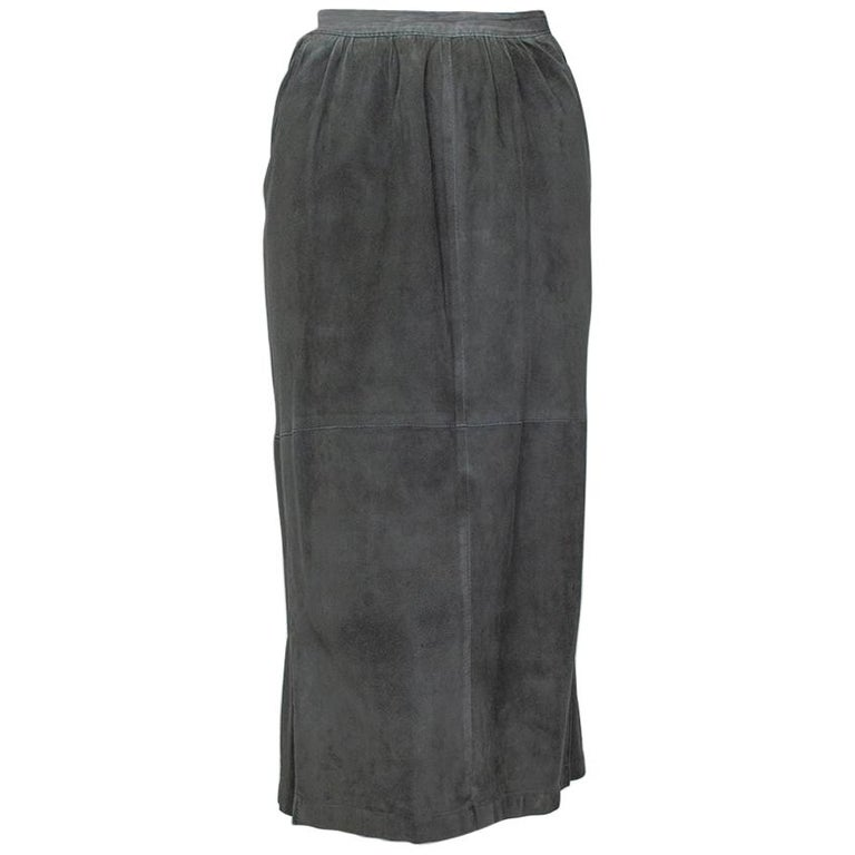 Gianfranco Ferré Charcoal Suede Trumpet Skirt, 1980s For Sale