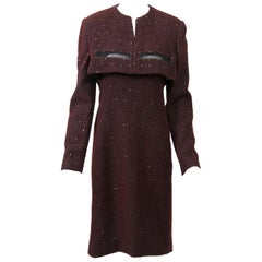 Geoffrey Beene Burgundy/Metallic Dress and Jacket