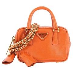 Prada Bauletto Handbag Saffiano Leather Mini