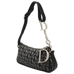 Dior Monogrammed Blue Canvas Mini Bag with DIOR Hardware
